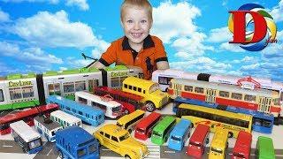 Игрушки машинки для детей Пассажирский транспорт Мультфильмы про машинки Трамвай Автобус Поезд метро