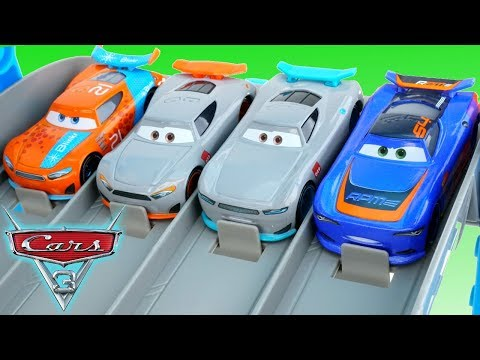New Disney Cars 3 Next Gen Rookies Race down the Florida 500 Speedway!