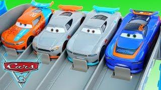 New Disney Cars 3 Next Gen Rookies Race down the Florida 500 Speedway!
