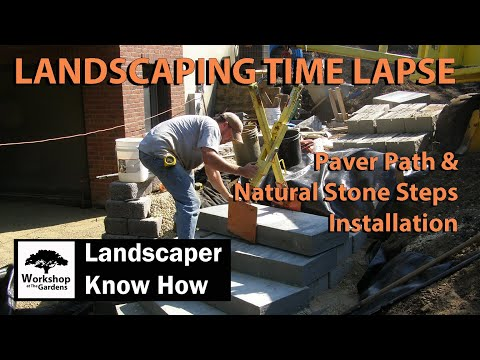 Paver Path & Natural Stone Steps Installation Time Lapse