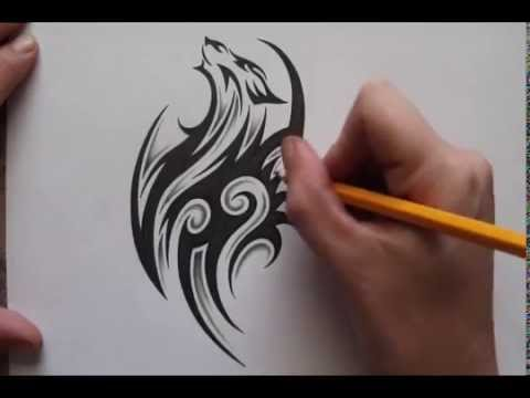 pencil shading around tribal wolf tattoo design real time youtube. Black Bedroom Furniture Sets. Home Design Ideas