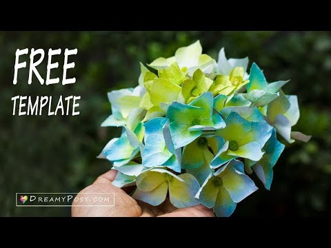 [FREE template] How to make paper Hydrangea flower from printer paper, very  EASY