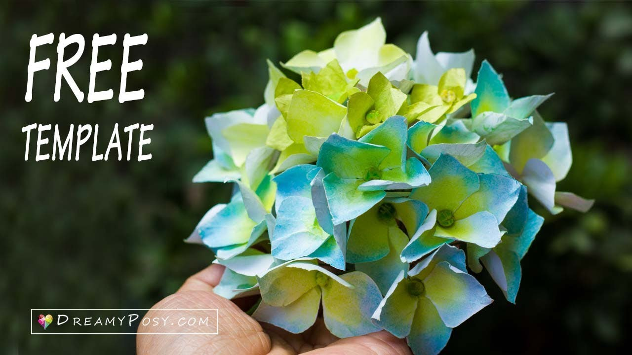 Free Template How To Make Paper Hydrangea Flower From Printer Paper
