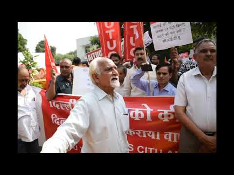 Workers of trade union strike at Delhi's nirman bhawan station against the increase in metro fare
