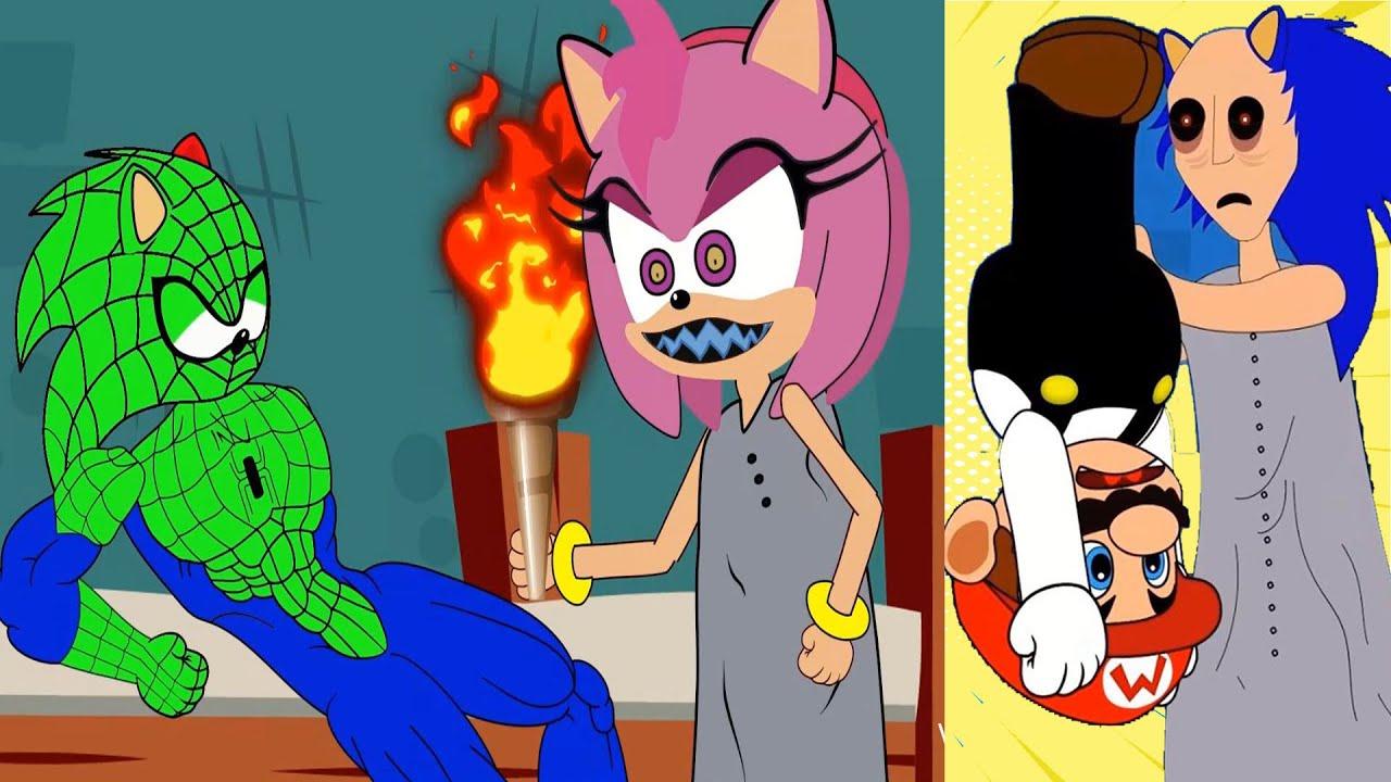 Sonic Spiderman vs Granny Amy Rose in prison - Crazy Granny Funny Animation - Kim 100