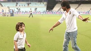 vuclip SRK Playing With Son Abram Khan At Eden Gardens Post KKR Vs RCB Ipl 2016 Match