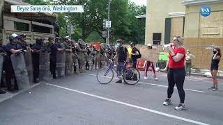 Washington'da Protestoculardan Polis ve Askere Tepki