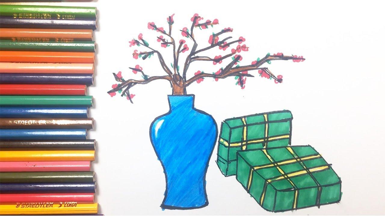 Vẽ tranh đề tài ngày Tết | Cách vẽ Bánh Chưng, Cành Đào | Binbon Kids TV