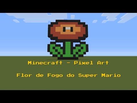 Minecraft Pixel Art Flor De Fogo Do Super Mario Youtube