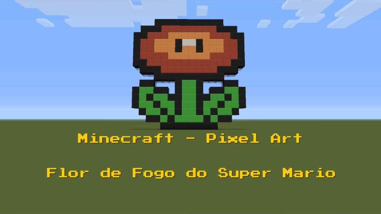 Minecraft Pixel Art Flor De Fogo Do Super Mario