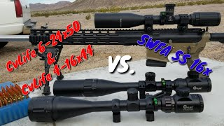 CvLife 6-24x50 & CvLife 4-16x44 Tracking Test - View @ 1000 yards - Compared to SWFA SS 16x