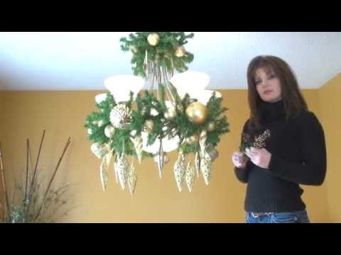 video how to decorate a chandelier light fixture for christmas part 3 - How To Decorate A Chandelier For Christmas