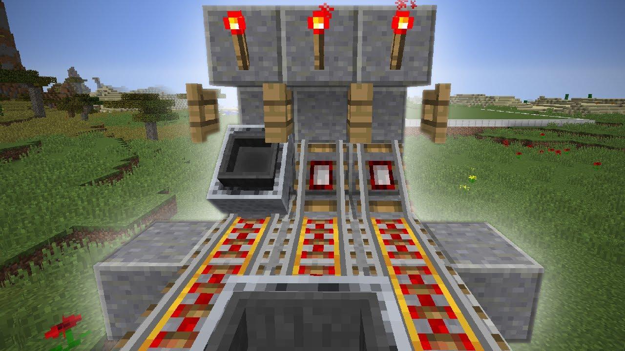 Minecraft Hopper Minecart Unloader Tutorial Tileable 1 Block Wide How Should I Design A Powered Rail Station Arqade Super Fast