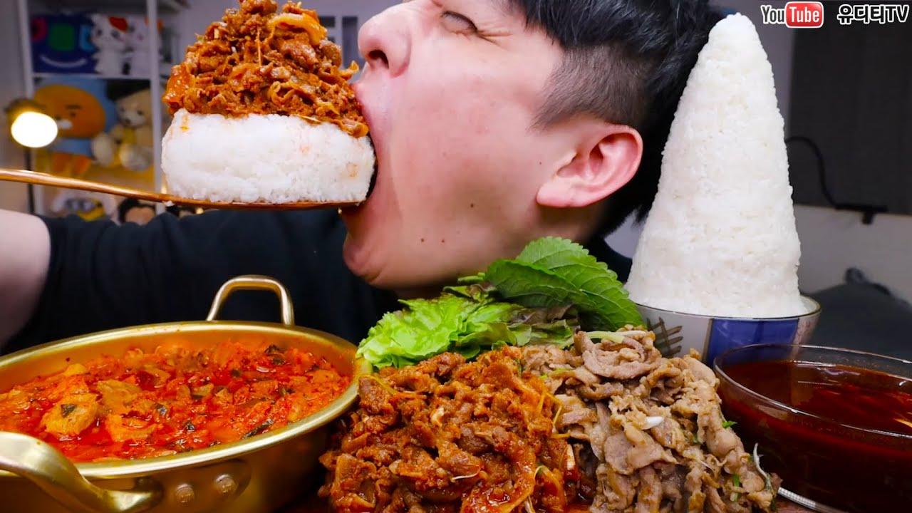 백종원 새마을식당 7분돼지김치 & 열탄불고기 & 밥 적당히 조금 먹방 MOUNTAIN RICE & KIMCHI STEW & SPICY BULGOGI A