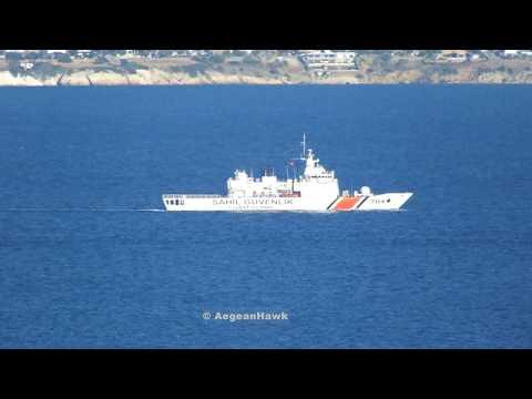 Turkish Coast Guard OPV Dost class TCSG 704 Yasam southbound Chios Strait.