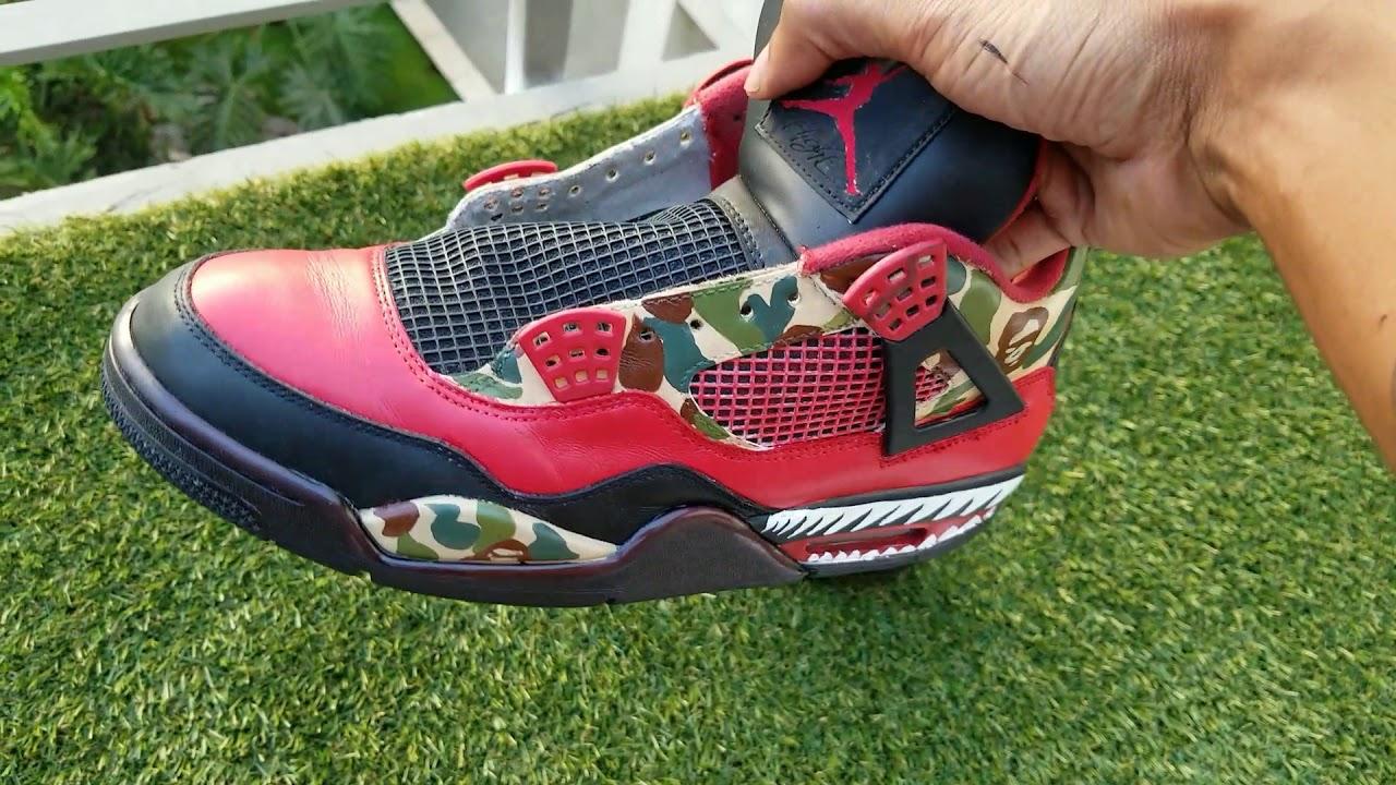 Custom Bape Jordan 4s!! - YouTube 94dc22083