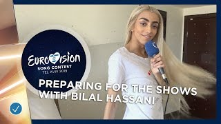 How does Bilal Hassani prepare for big shows like the Eurovision Song Contest