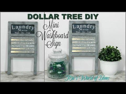 DOLLAR TREE DIY | MINI WASHBOARD LAUNDRY SIGN | FARMHOUSE STYLE