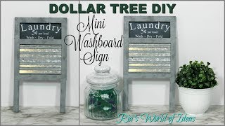 DOLLAR TREE DIY | MINI WASHBOARD LAUNDRY SIGN | FARMHOUSE STYLE
