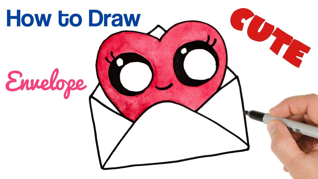How to Draw Cute Envelope Heart Watercolor | Valentine's ...