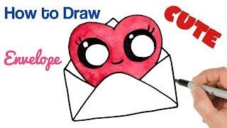 valentines drawings draw valentine heart envelope paintingvalley