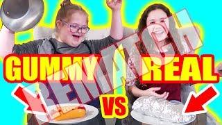 Gummy VS Real Challenge REMATCH!!! With Sierra Haschak