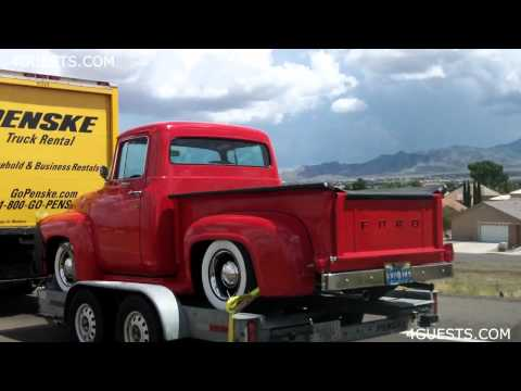 Old vintage Ford Trucks on Trailers, Penske rentals
