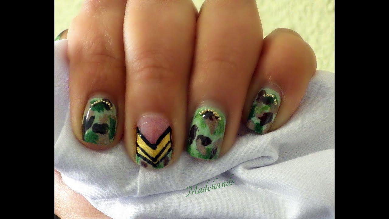 Diseño de uñas camuflaje// Camouflage nailt art - YouTube