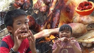 BBQ Recipe Bamboo Chicken - Cooking Recipe Delicious Gac Fruit and Chicken - Cooking Skil
