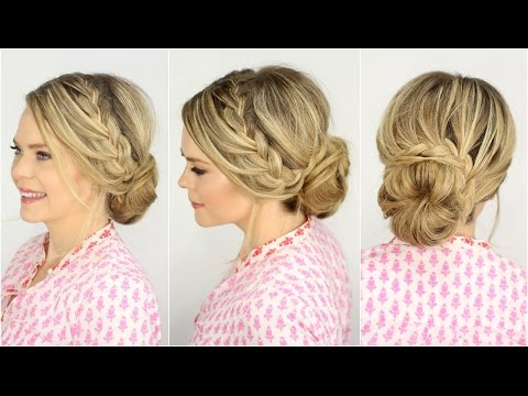 French Lace Braid Updo Prom Hairstyle