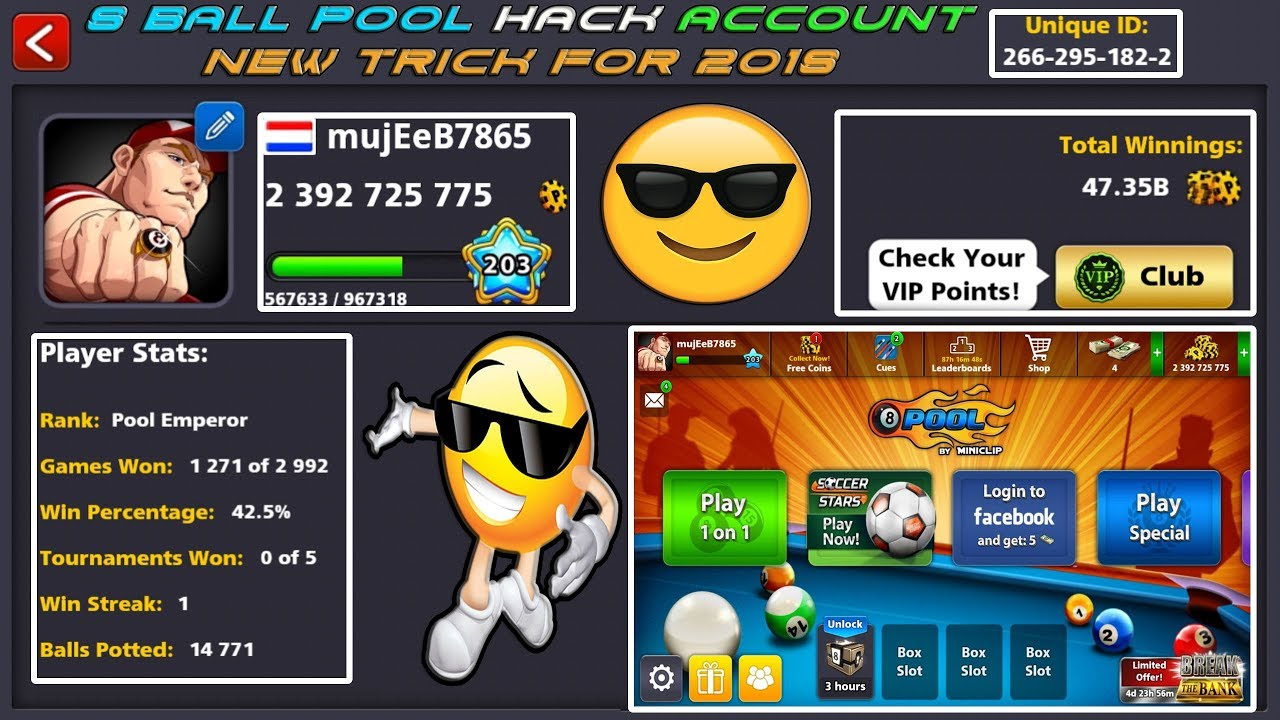 8 Ball Pool HACK Any Account / NEW Trick / Easy Method ...