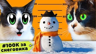 #100КЗАСНЕГОВИКА CAT BABY and CAT MURKA and SNOWMAN for 100 000! CONTEST from #SLIVKISHOW and COOKIE