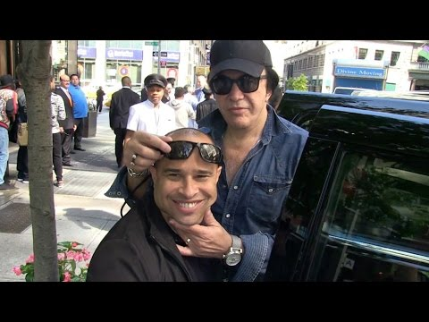 Kiss Band members Gene Simmons and Paul Stanley leaving the Trump Soho Hotel in New York
