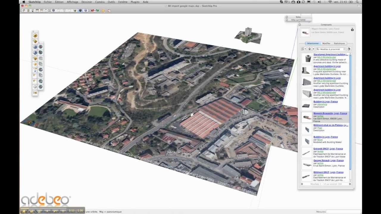 Tutoriel sketchup b1 import des b timents google earth for Sketchup import