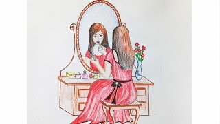 How to draw scenery of dressing table Step by step