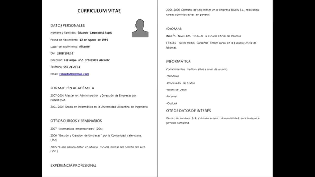 Cv Formal En Espanol - A Good Owner Manual Example •