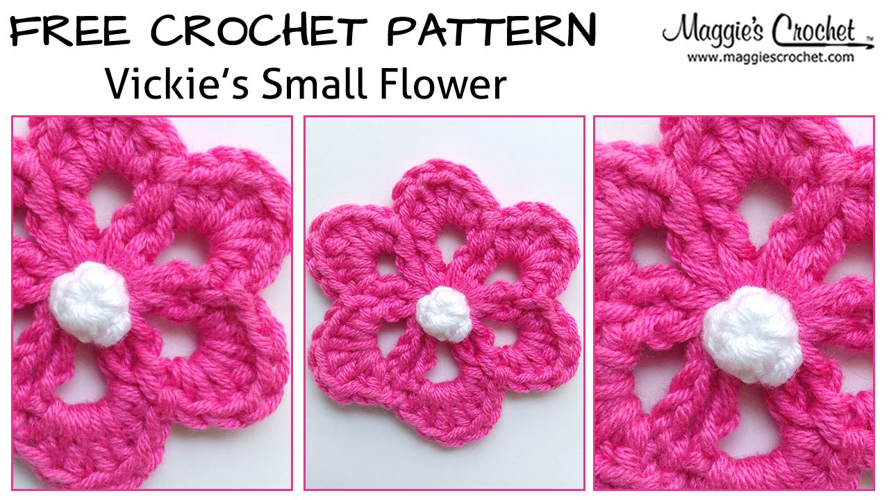 Crochet Flower Pattern Small : Vickies Small Flower Free Crochet Pattern - Right Handed ...
