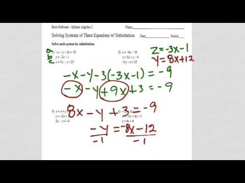 Solving Systems Of Three Equations W Substitution Youtube