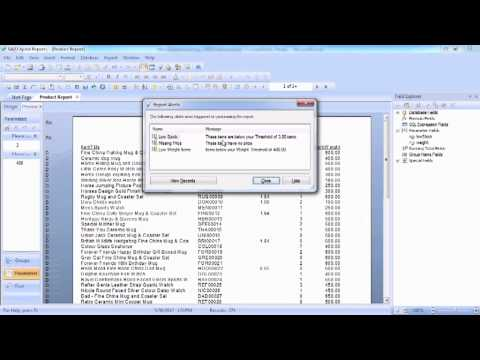 Advanced Crystal Reports 2011 Tutorial | Using A Parameter Value With A Report Alert
