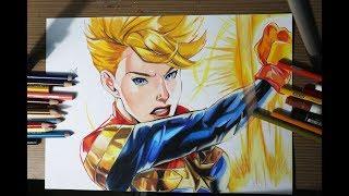 Drawing Captain MARVEL (Carol Danvers) | Avengers Endgame