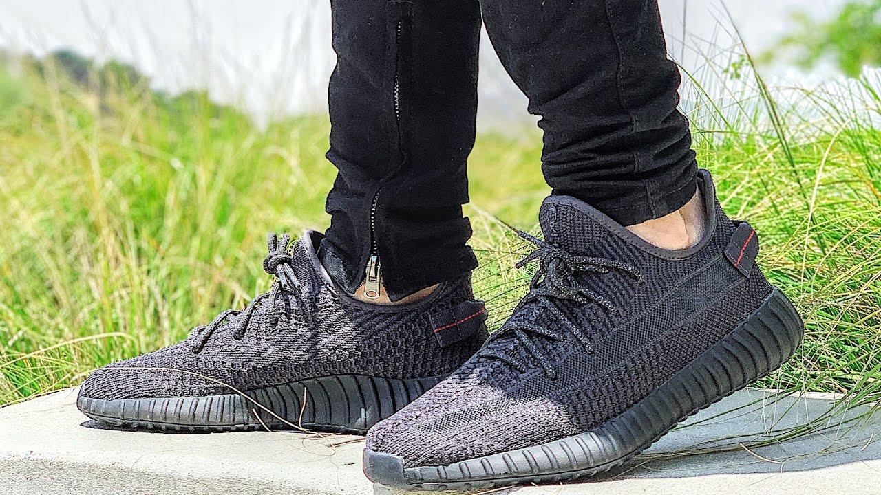 yeezy static black on feet