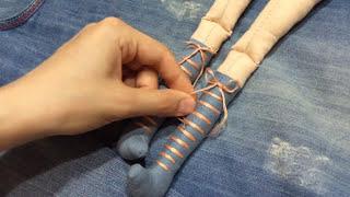 Шнуровка ботинок куклы Тильда (Tilda)