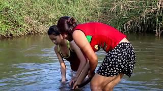 Amazing beautiful girl Fishing in Cambodia - How to Fishing at battambang ( part 236)