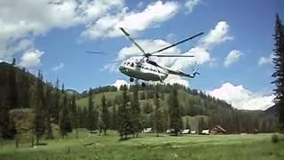Эффект воздушной подушки. Взлёт Ми-8т в горах.