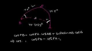 To find the iniтial and final course of great circle track Example 2