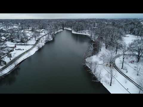 Aerial Drone View Of Audubon New Jersey After Snow Storm March 7, 2018