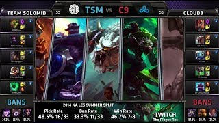 TSM (team Solomid) vs Cloud 9 | S4 NA LCS Summer split 2014 W4D1 | TSM vs C9 G1