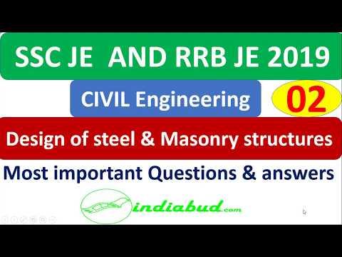 SSC JE & RRB JE (CBT-2) Civil Engg l Design of Steel & Masonry Structures l Lec -02