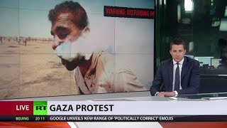 IDF tear gas canister hits Palestinian in face during Gaza border protest