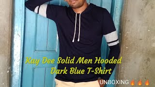 Kay Dee Solid Men Hooded Dark Blue T-Shirt Unboxing 🔥🔥🔥